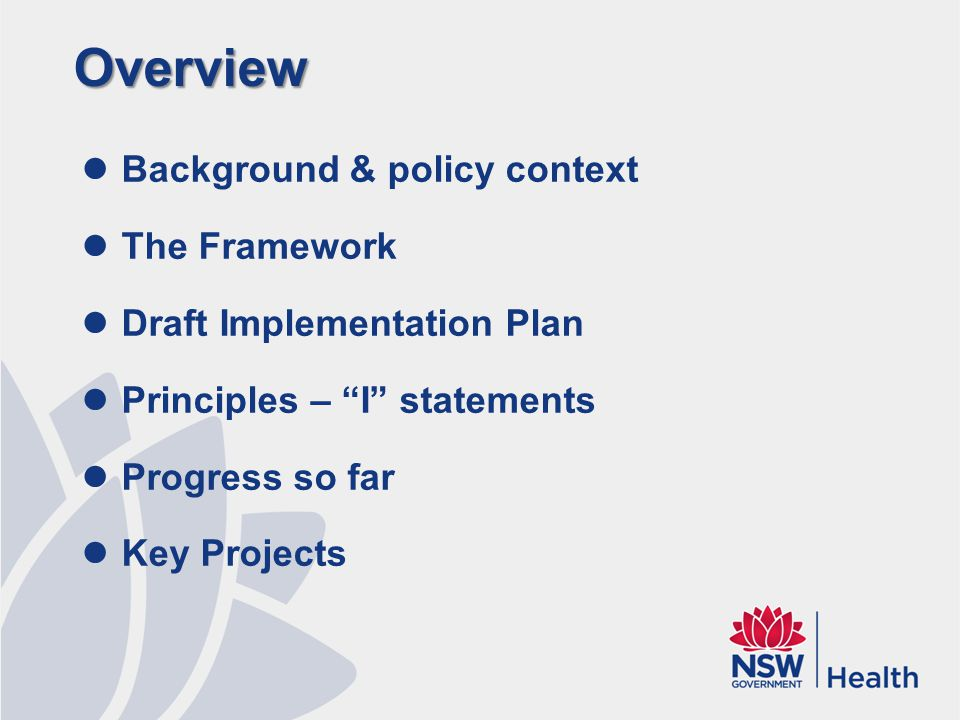 Overview Background & policy context The Framework Draft Implementation Plan Principles – I statements Progress so far Key Projects