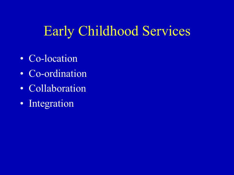 Early Childhood Services Co-location Co-ordination Collaboration Integration