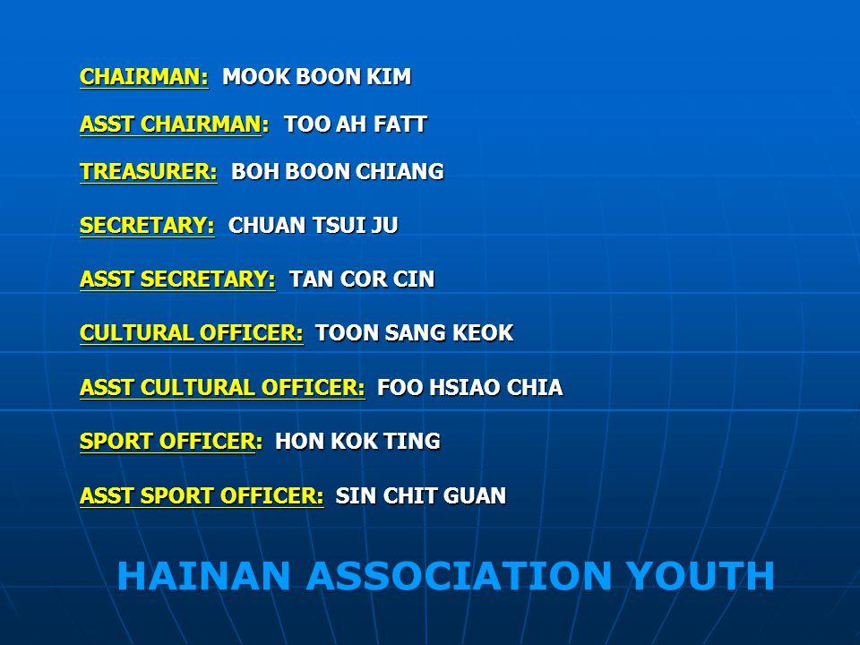 CHAIRMAN: MOOK BOON KIM ASST CHAIRMAN: TOO AH FATT TREASURER: BOH BOON CHIANG SECRETARY: CHUAN TSUI JU ASST SECRETARY: TAN COR CIN CULTURAL OFFICER: TOON SANG KEOK SPORT OFFICER: HON KOK TING ASST SPORT OFFICER: SIN CHIT GUAN ASST CULTURAL OFFICER: FOO HSIAO CHIA