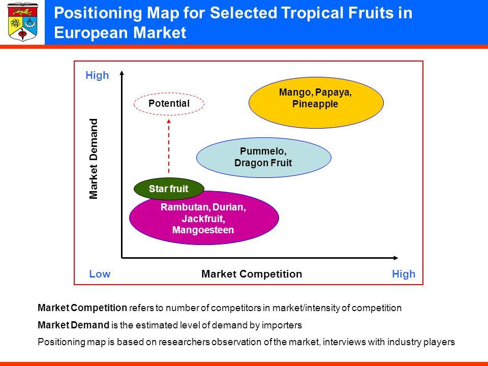 19 Market Demand Market CompetitionLowHigh Mango, Papaya, Pineapple Pummelo, Dragon Fruit Rambutan, Durian, Jackfruit, Mangoesteen Star fruit Potentia