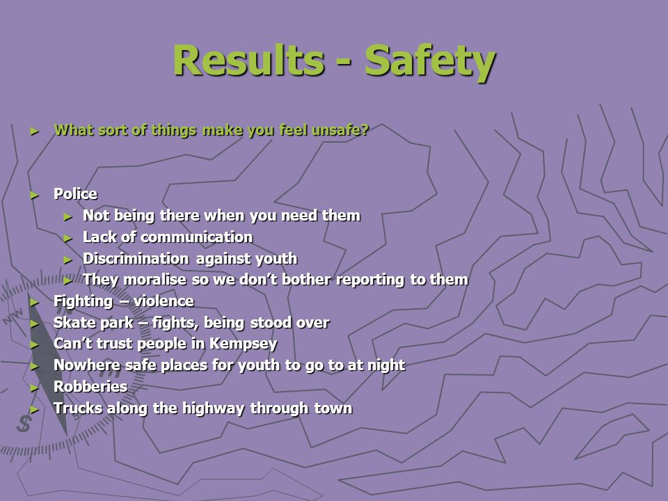 Results - Safety What sort of things make you feel unsafe.