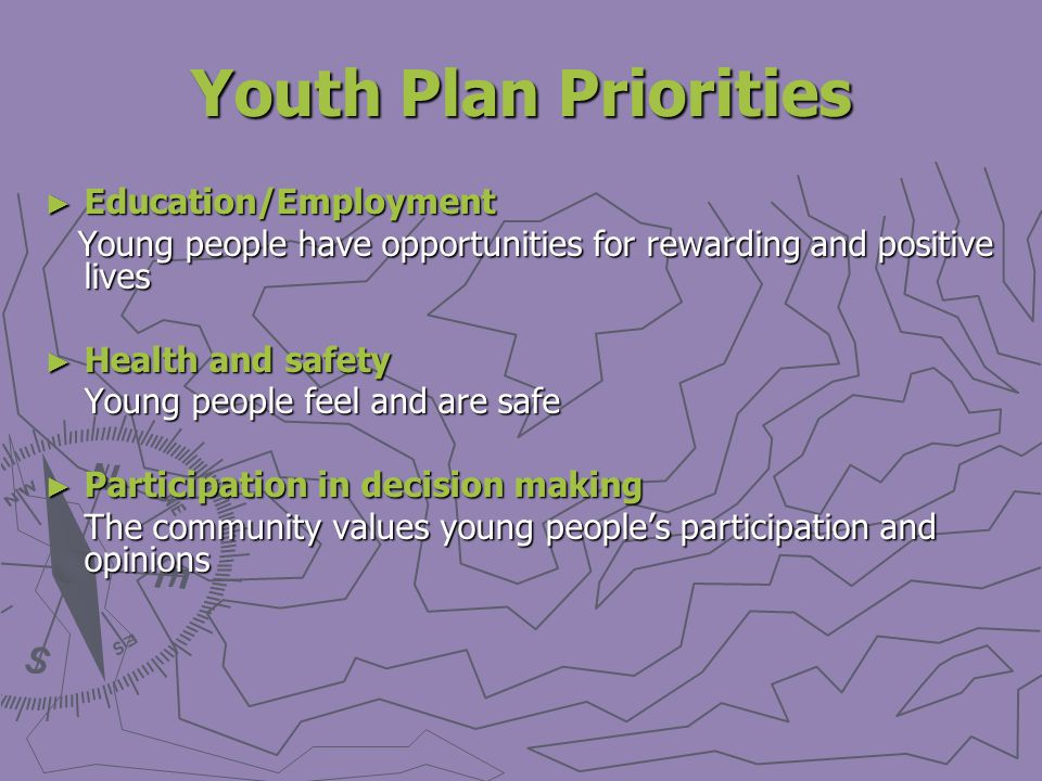 Youth Plan Priorities Education/Employment Education/Employment Young people have opportunities for rewarding and positive lives Young people have opportunities for rewarding and positive lives Health and safety Health and safety Young people feel and are safe Participation in decision making Participation in decision making The community values young peoples participation and opinions