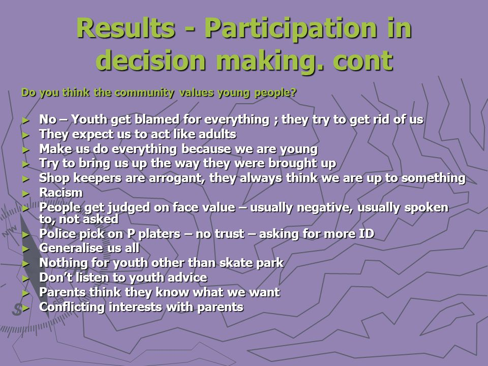 Results - Participation in decision making. cont Do you think the community values young people.