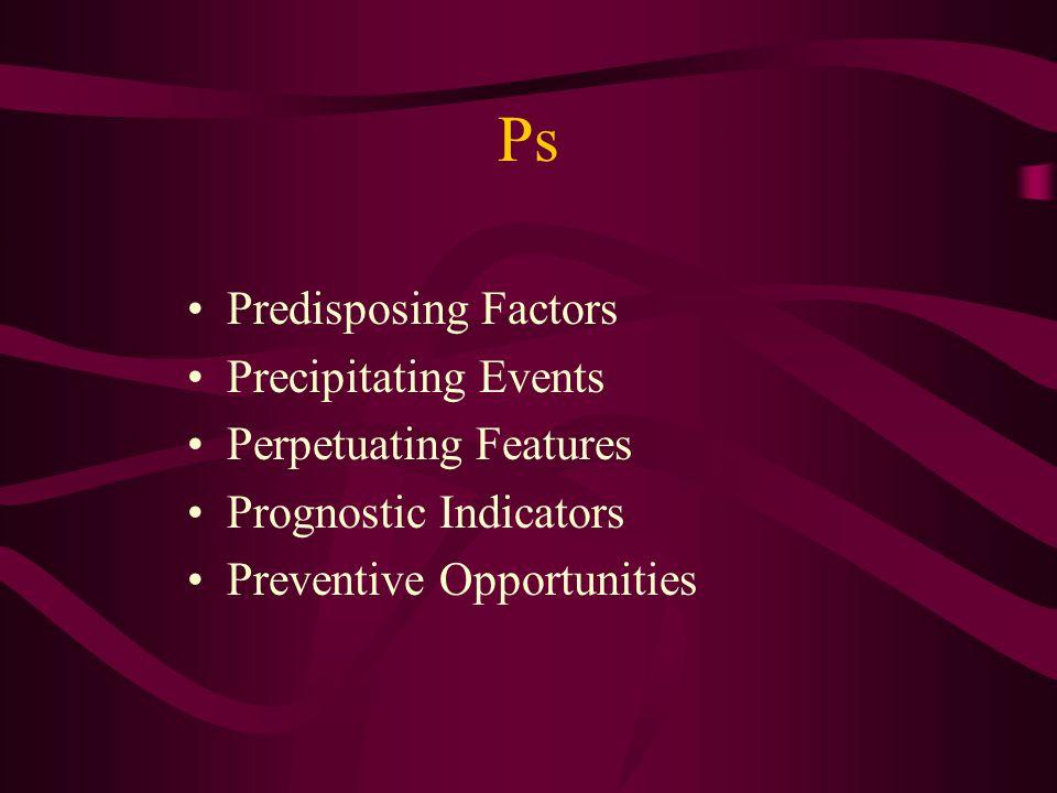 Ps Predisposing Factors Precipitating Events Perpetuating Features Prognostic Indicators Preventive Opportunities