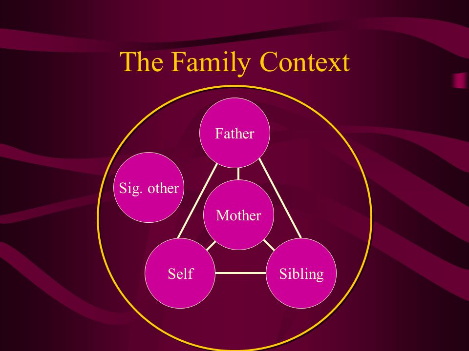 The Family Context Sig. other Father Mother SelfSibling