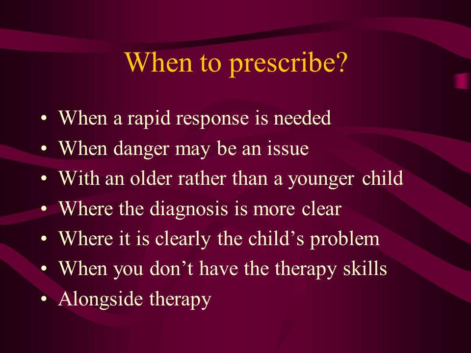 When to prescribe.