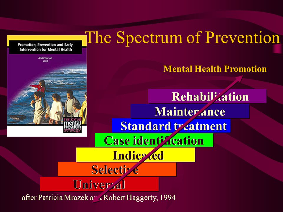 The Spectrum of Prevention Selective Indicated Case identification Standard treatment Rehabilitation Maintenance Universal after Patricia Mrazek and Robert Haggerty, 1994 Mental Health Promotion