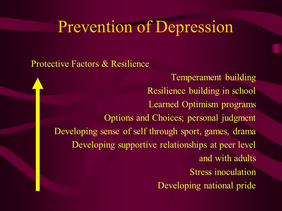 Prevention of Depression Protective Factors & Resilience Temperament building Resilience building in school Learned Optimism programs Options and Choices; personal judgment Developing sense of self through sport, games, drama Developing supportive relationships at peer level and with adults Stress inoculation Developing national pride