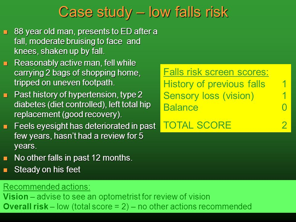 Case study – low falls risk 88 year old man, presents to ED after a fall, moderate bruising to face and knees, shaken up by fall. 88 year old man, pre