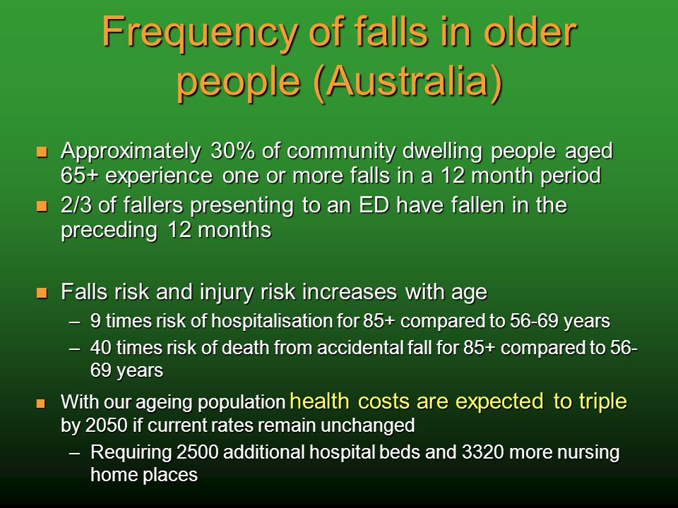 Frequency of falls in older people (Australia) Approximately 30% of community dwelling people aged 65+ experience one or more falls in a 12 month period Approximately 30% of community dwelling people aged 65+ experience one or more falls in a 12 month period 2/3 of fallers presenting to an ED have fallen in the preceding 12 months 2/3 of fallers presenting to an ED have fallen in the preceding 12 months Falls risk and injury risk increases with age Falls risk and injury risk increases with age –9 times risk of hospitalisation for 85+ compared to 56-69 years –40 times risk of death from accidental fall for 85+ compared to 56- 69 years With our ageing population health costs are expected to triple by 2050 if current rates remain unchanged With our ageing population health costs are expected to triple by 2050 if current rates remain unchanged –Requiring 2500 additional hospital beds and 3320 more nursing home places