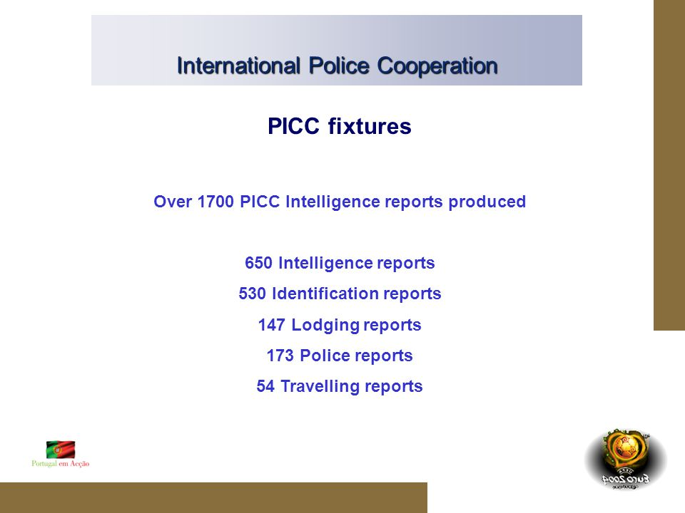 International Police Cooperation PICC fixtures Over 1700 PICC Intelligence reports produced 650 Intelligence reports 530 Identification reports 147 Lodging reports 173 Police reports 54 Travelling reports