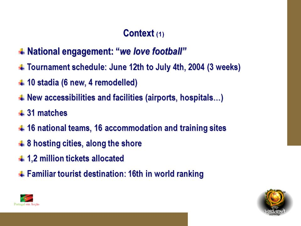 Context Context (1) National engagement: we love football National engagement: we love football Tournament schedule: June 12th to July 4th, 2004 (3 weeks) Tournament schedule: June 12th to July 4th, 2004 (3 weeks) 10 stadia (6 new, 4 remodelled) 10 stadia (6 new, 4 remodelled) New accessibilities and facilities (airports, hospitals…) New accessibilities and facilities (airports, hospitals…) 31 matches 31 matches 16 national teams, 16 accommodation and training sites 16 national teams, 16 accommodation and training sites 8 hosting cities, along the shore 8 hosting cities, along the shore 1,2 million tickets allocated 1,2 million tickets allocated Familiar tourist destination: 16th in world ranking Familiar tourist destination: 16th in world ranking