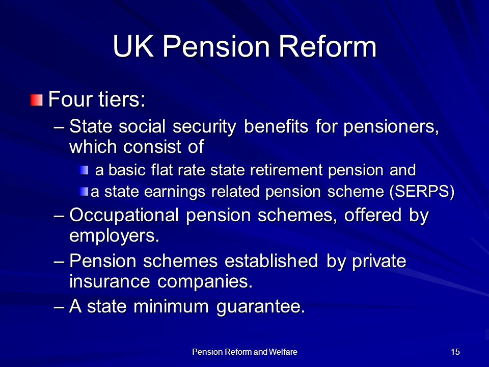 Pension Reform and Welfare 15 UK Pension Reform Four tiers: –State social security benefits for pensioners, which consist of a basic flat rate state r