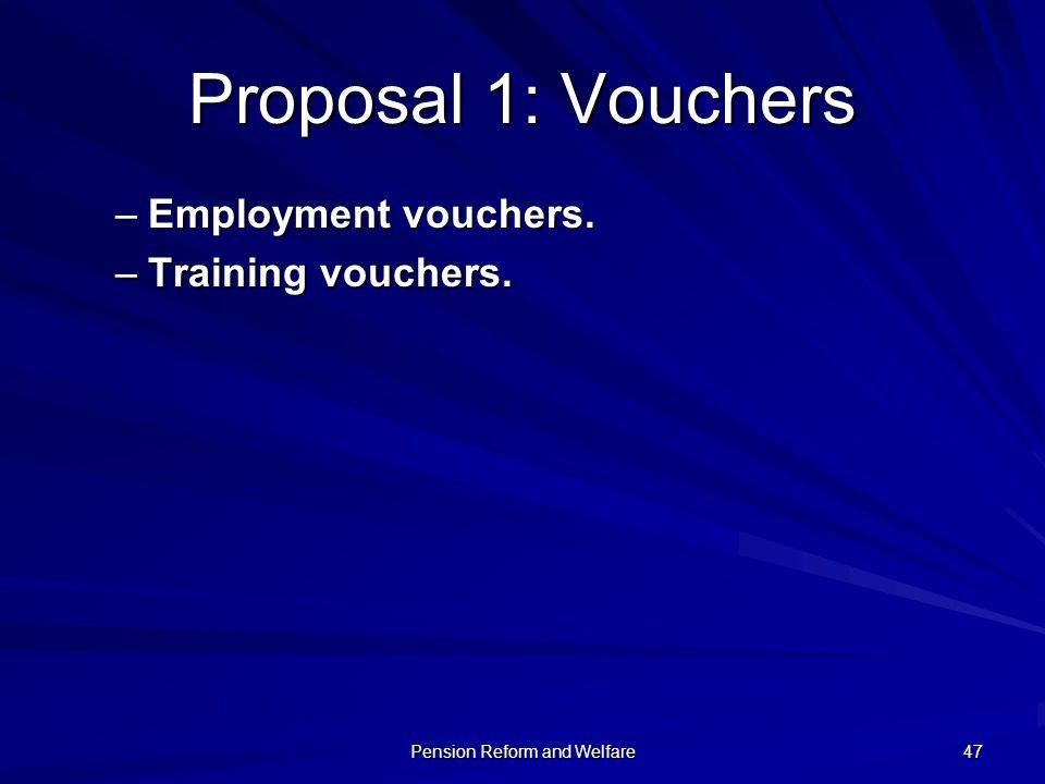 Pension Reform and Welfare 47 Proposal 1: Vouchers –Employment vouchers. –Training vouchers.