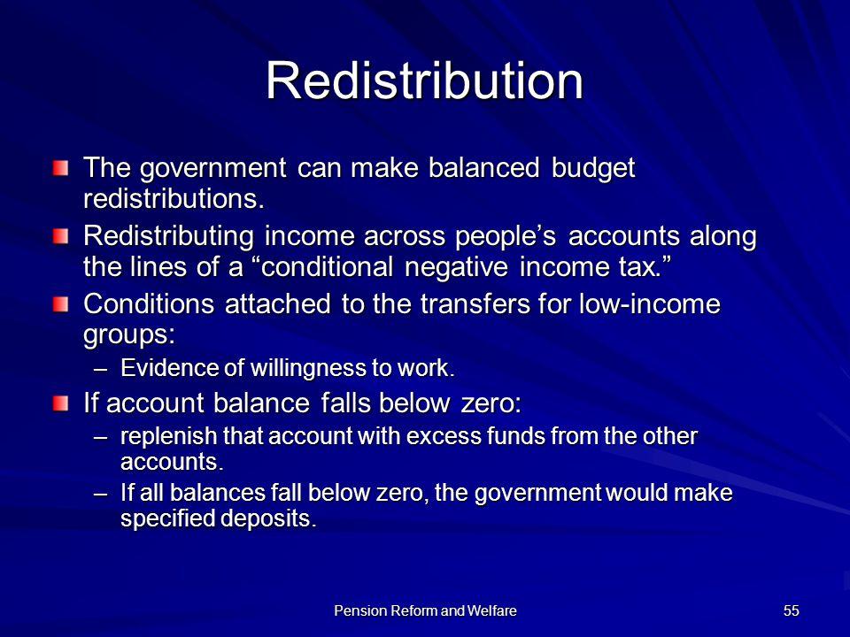 Pension Reform and Welfare 55 Redistribution The government can make balanced budget redistributions. Redistributing income across peoples accounts al