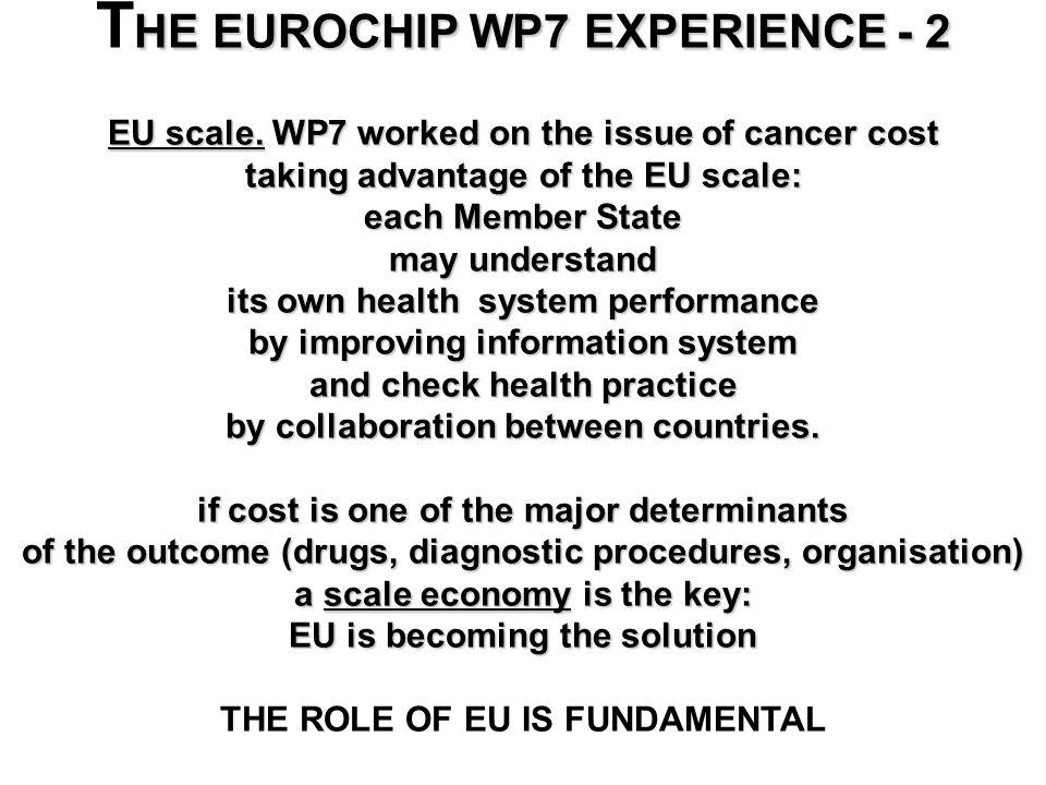 HE EUROCHIP WP7 EXPERIENCE - 2 T HE EUROCHIP WP7 EXPERIENCE - 2 EU scale.