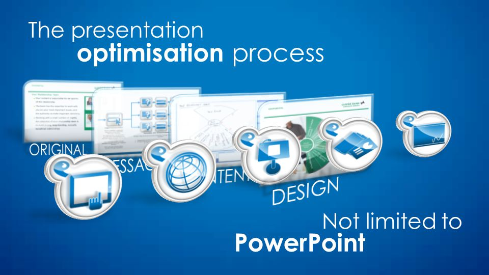 The presentation optimisation process Not limited to PowerPoint