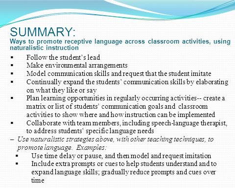 SUMMARY: Ways to promote receptive language across classroom activities, using naturalistic instruction Follow the students lead Make environmental ar