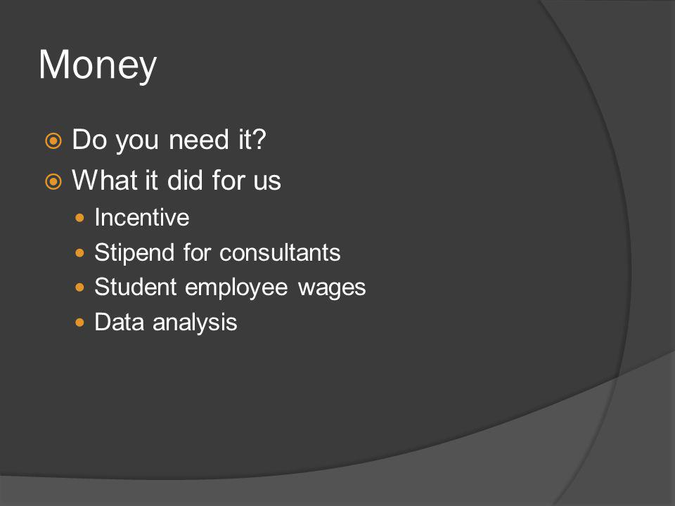 Money Do you need it? What it did for us Incentive Stipend for consultants Student employee wages Data analysis