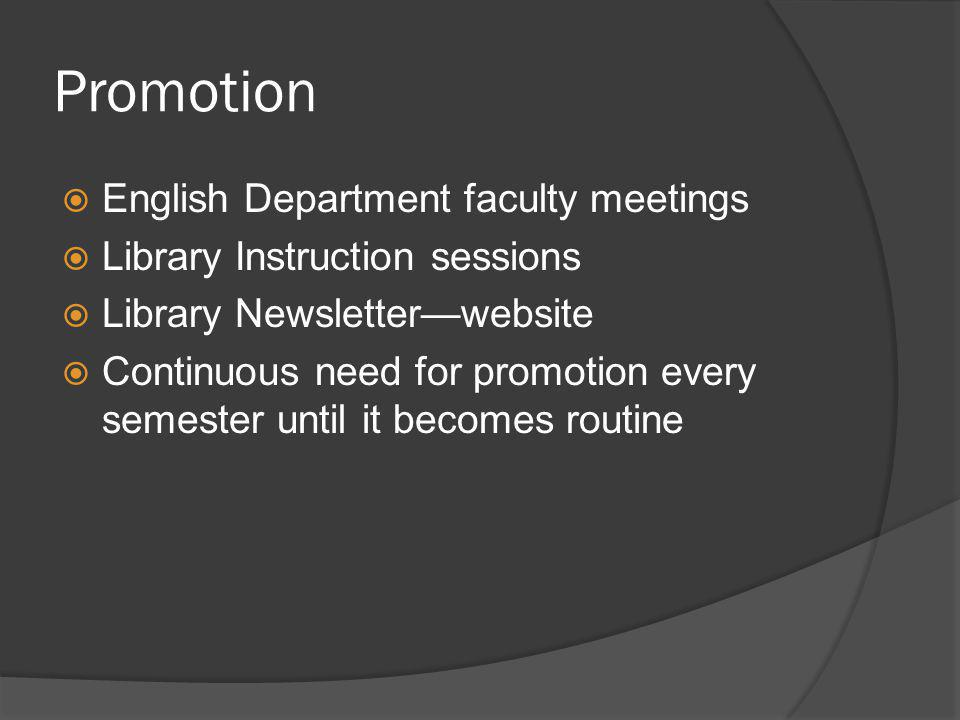 Promotion English Department faculty meetings Library Instruction sessions Library Newsletterwebsite Continuous need for promotion every semester unti