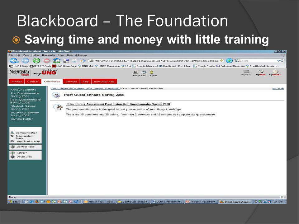 Saving time and money with little training Blackboard – The Foundation