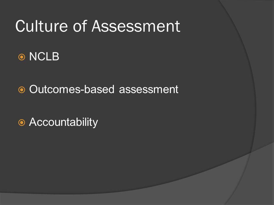 Culture of Assessment NCLB Outcomes-based assessment Accountability