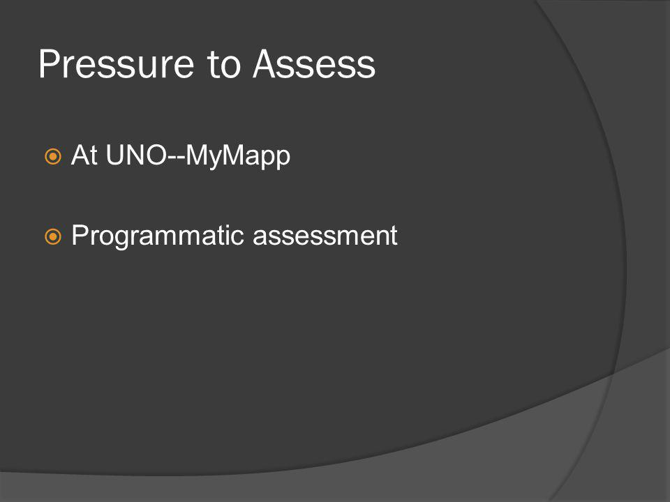 Pressure to Assess At UNO--MyMapp Programmatic assessment