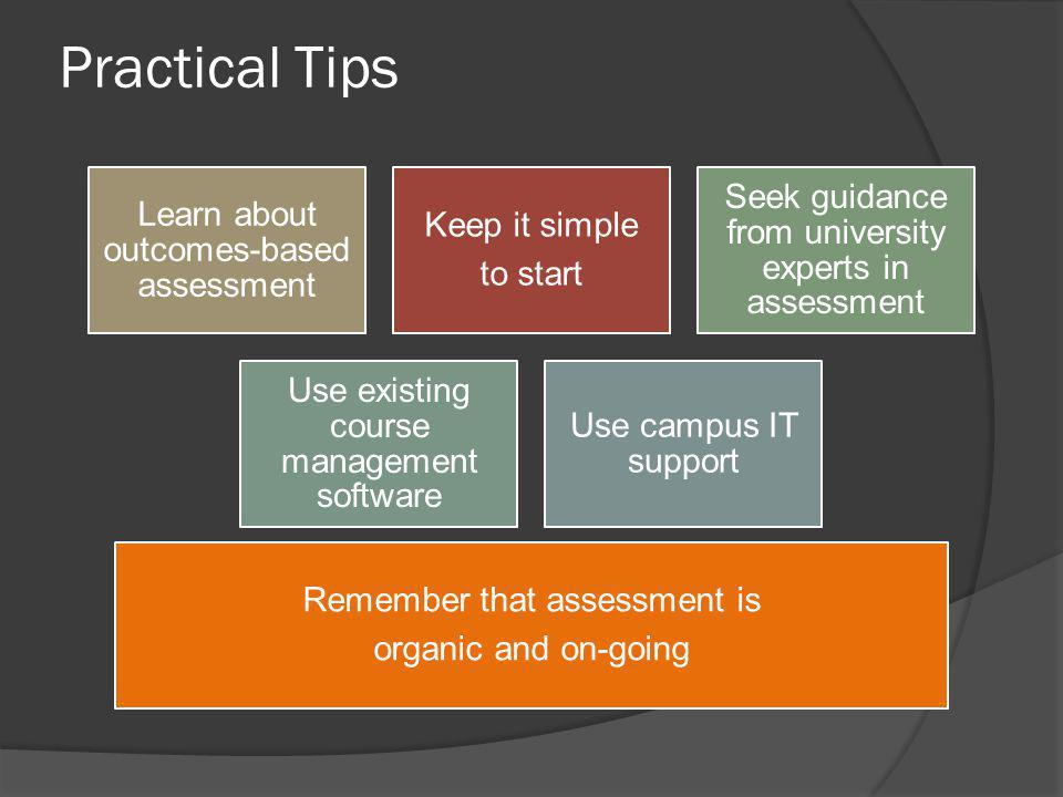 Learn about outcomes-based assessment Keep it simple to start Seek guidance from university experts in assessment Use existing course management softw