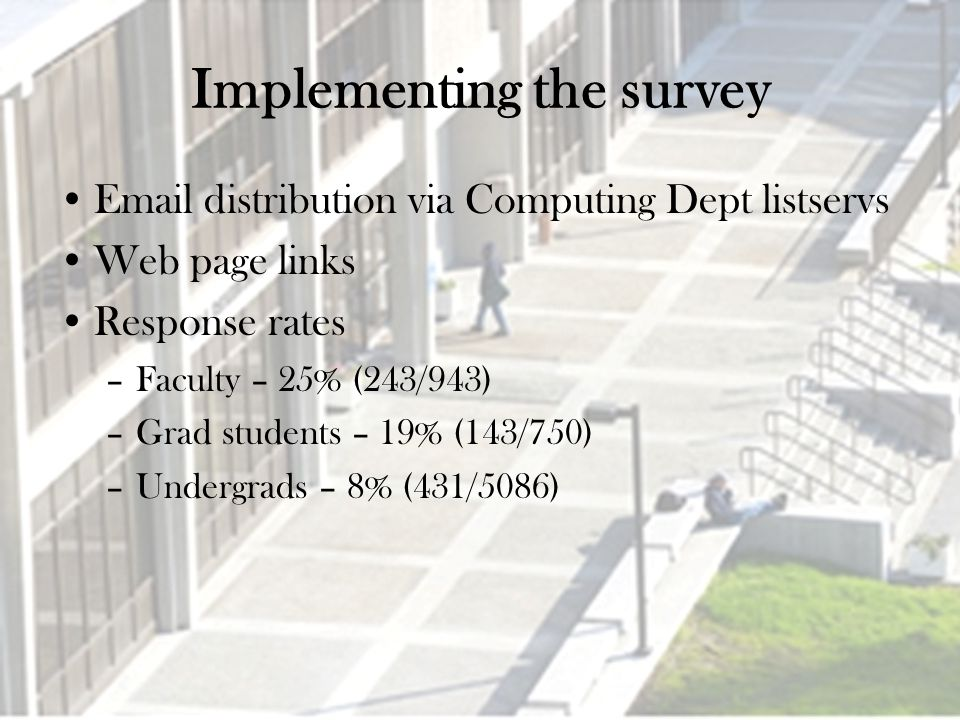 Implementing the survey Email distribution via Computing Dept listservs Web page links Response rates –Faculty – 25% (243/943) –Grad students – 19% (143/750) –Undergrads – 8% (431/5086)
