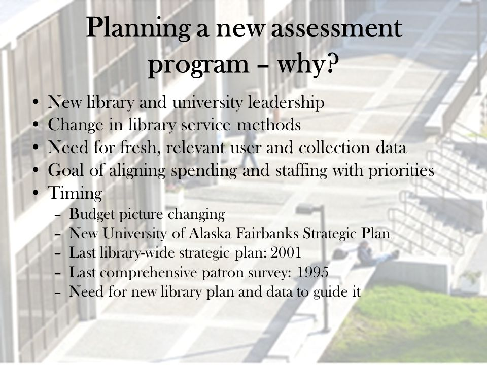 Planning a new assessment program – why.