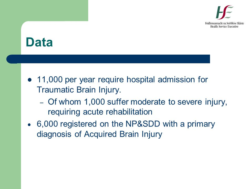Data 11,000 per year require hospital admission for Traumatic Brain Injury. – Of whom 1,000 suffer moderate to severe injury, requiring acute rehabili