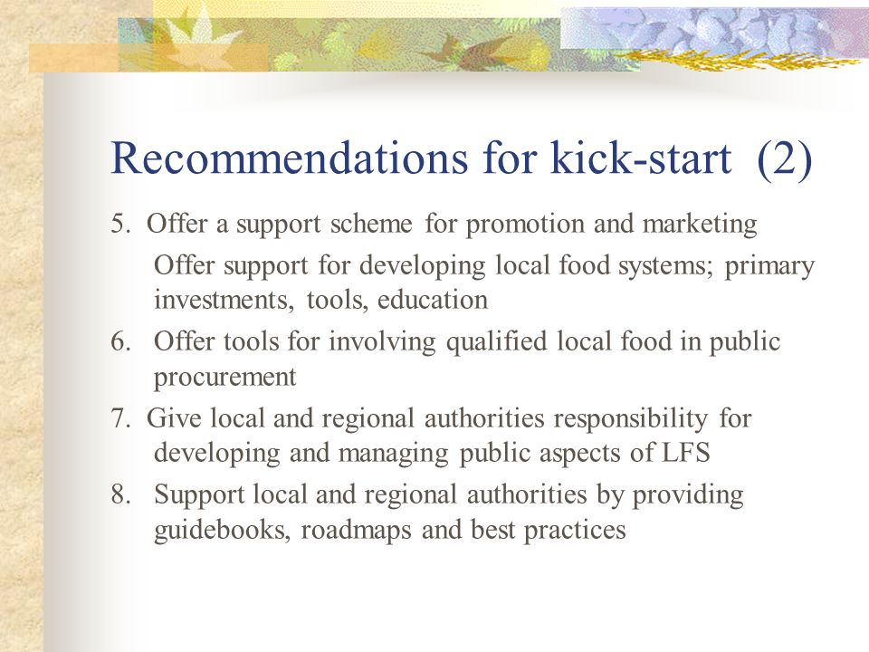 Recommendations for kick-start (2) 5.