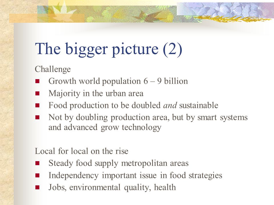 The bigger picture (2) Challenge Growth world population 6 – 9 billion Majority in the urban area Food production to be doubled and sustainable Not by doubling production area, but by smart systems and advanced grow technology Local for local on the rise Steady food supply metropolitan areas Independency important issue in food strategies Jobs, environmental quality, health