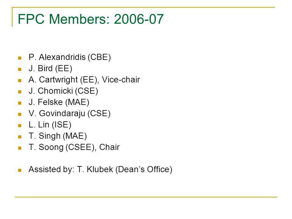 FPC Members: 2006-07 P. Alexandridis (CBE) J. Bird (EE) A. Cartwright (EE), Vice-chair J. Chomicki (CSE) J. Felske (MAE) V. Govindaraju (CSE) L. Lin (