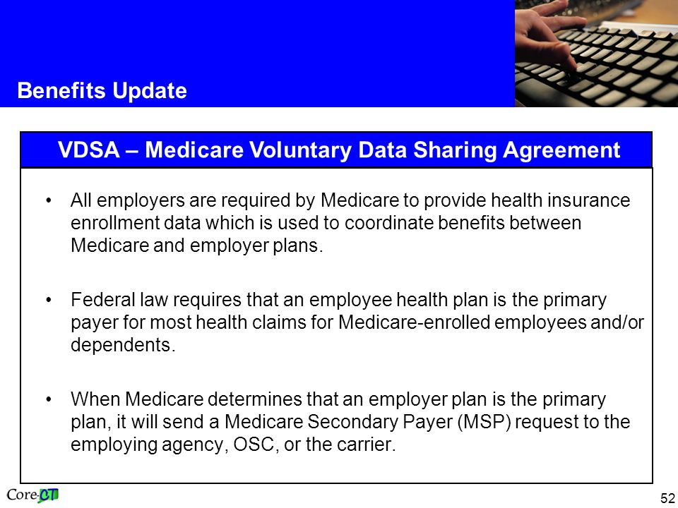 52 Benefits Update VDSA – Medicare Voluntary Data Sharing Agreement All employers are required by Medicare to provide health insurance enrollment data