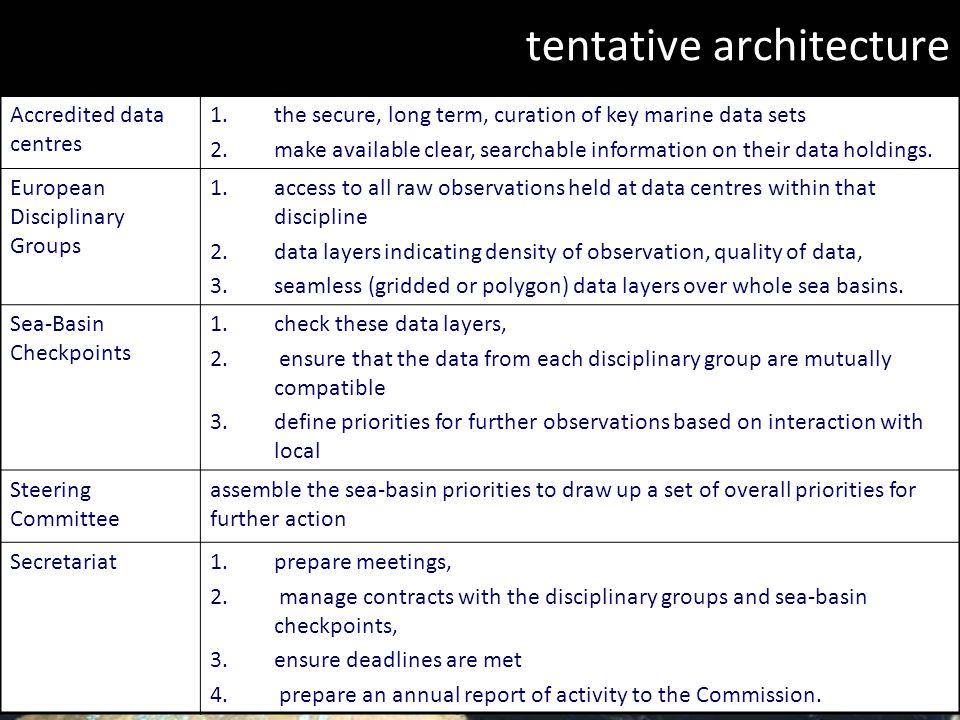 EIONET, Guy Fawkes 2009 11/19 tentative architecture Accredited data centres 1.the secure, long term, curation of key marine data sets 2.make available clear, searchable information on their data holdings.