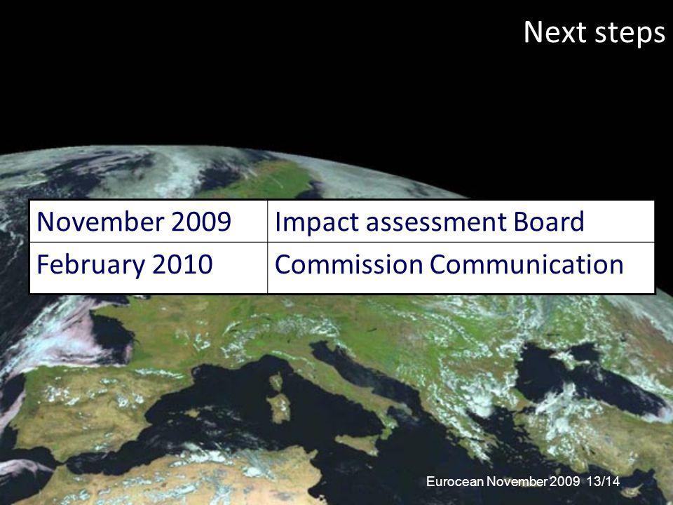 Next steps November 2009Impact assessment Board February 2010Commission Communication Eurocean November 2009 13/14