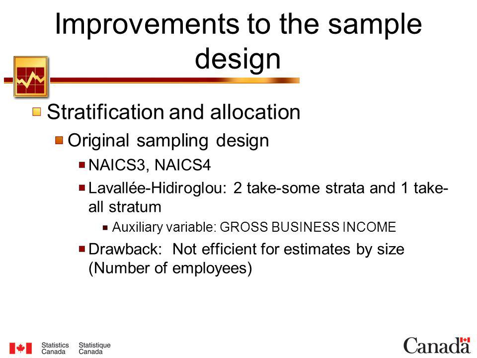 Stratification and allocation Original sampling design NAICS3, NAICS4 Lavallée-Hidiroglou: 2 take-some strata and 1 take- all stratum Auxiliary variable: GROSS BUSINESS INCOME Drawback: Not efficient for estimates by size (Number of employees) Improvements to the sample design