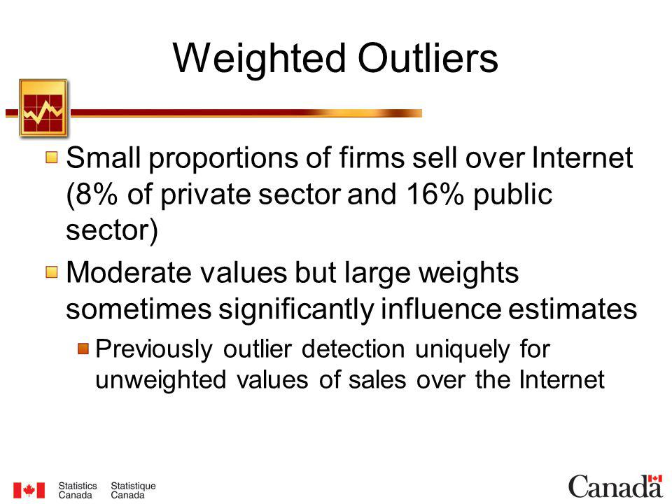 Weighted Outliers Small proportions of firms sell over Internet (8% of private sector and 16% public sector) Moderate values but large weights sometimes significantly influence estimates Previously outlier detection uniquely for unweighted values of sales over the Internet