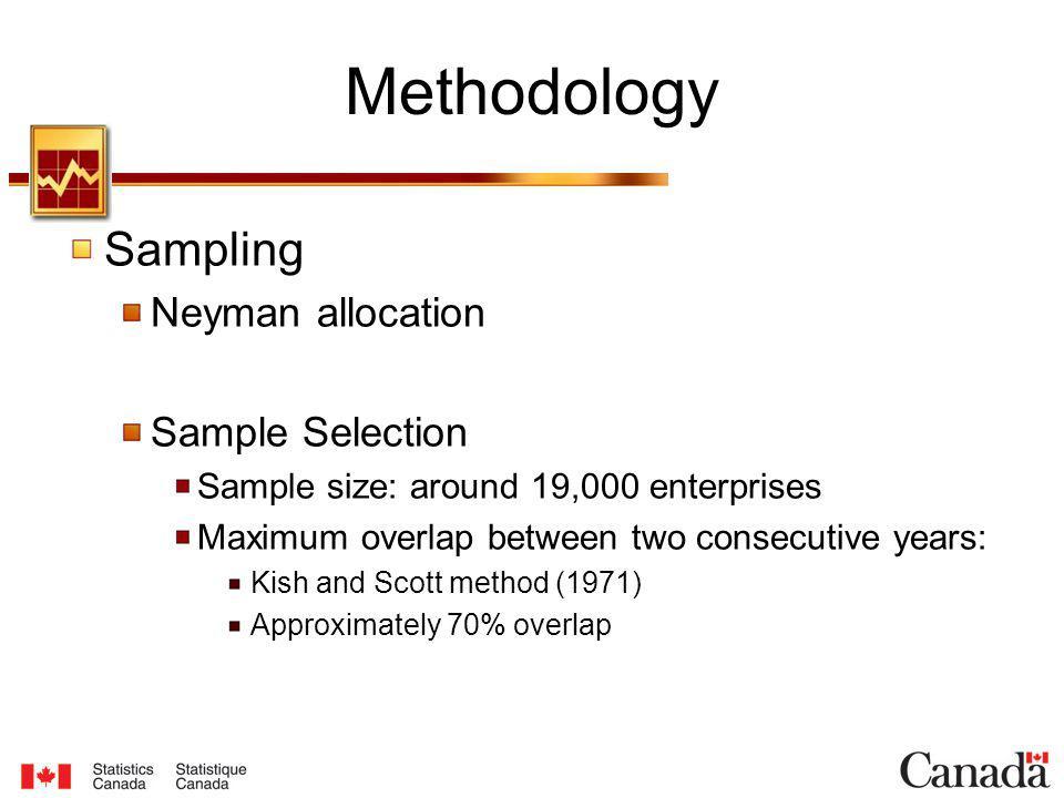 Methodology Sampling Neyman allocation Sample Selection Sample size: around 19,000 enterprises Maximum overlap between two consecutive years: Kish and Scott method (1971) Approximately 70% overlap