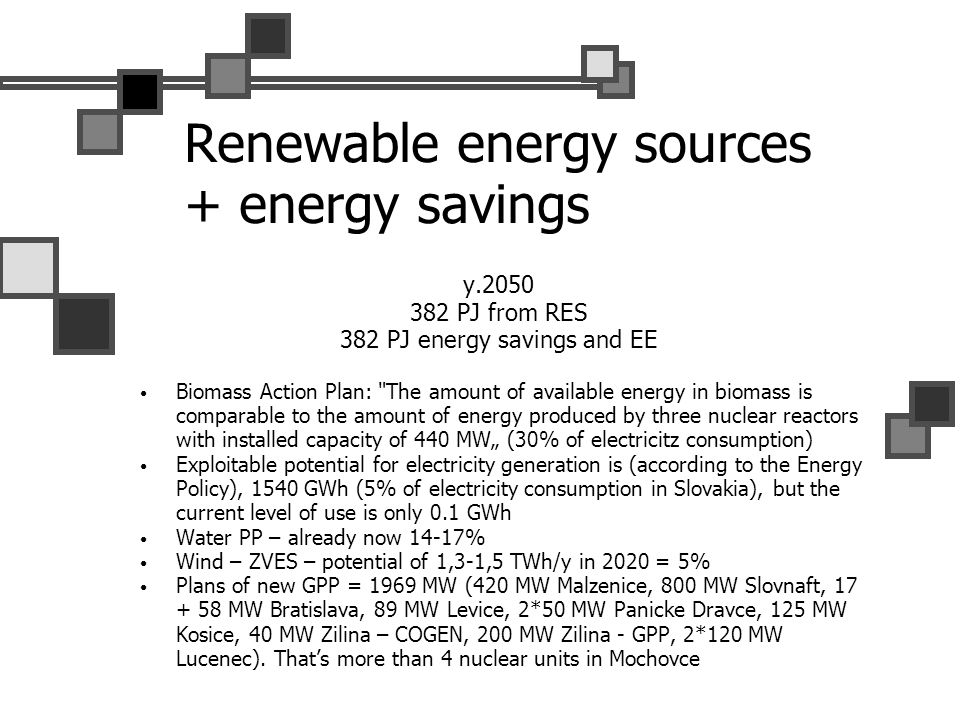 Renewable energy sources + energy savings y.2050 382 PJ from RES 382 PJ energy savings and EE Biomass Action Plan: