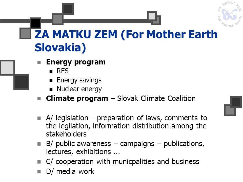 ZA MATKU ZEM (For Mother Earth Slovakia) Energy program RES Energy savings Nuclear energy Climate program – Slovak Climate Coalition A/ legislation –