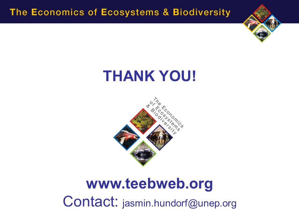 THANK YOU! www.teebweb.org Contact: jasmin.hundorf@unep.org