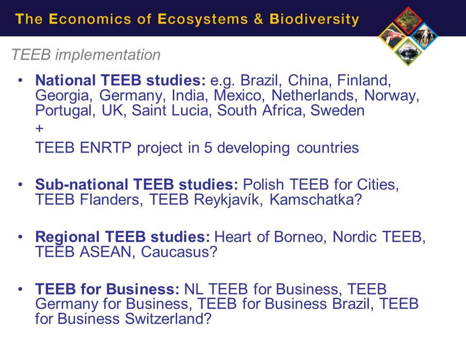 TEEB implementation National TEEB studies: e.g.