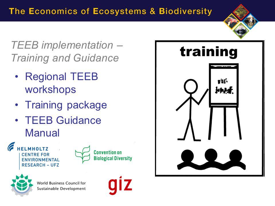 TEEB implementation – Training and Guidance Regional TEEB workshops Training package TEEB Guidance Manual