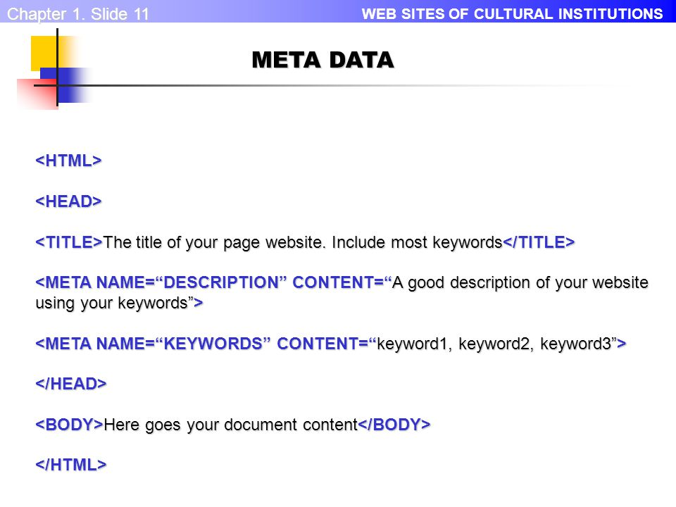 WEB SITES OF CULTURAL INSTITUTIONS Chapter 1.