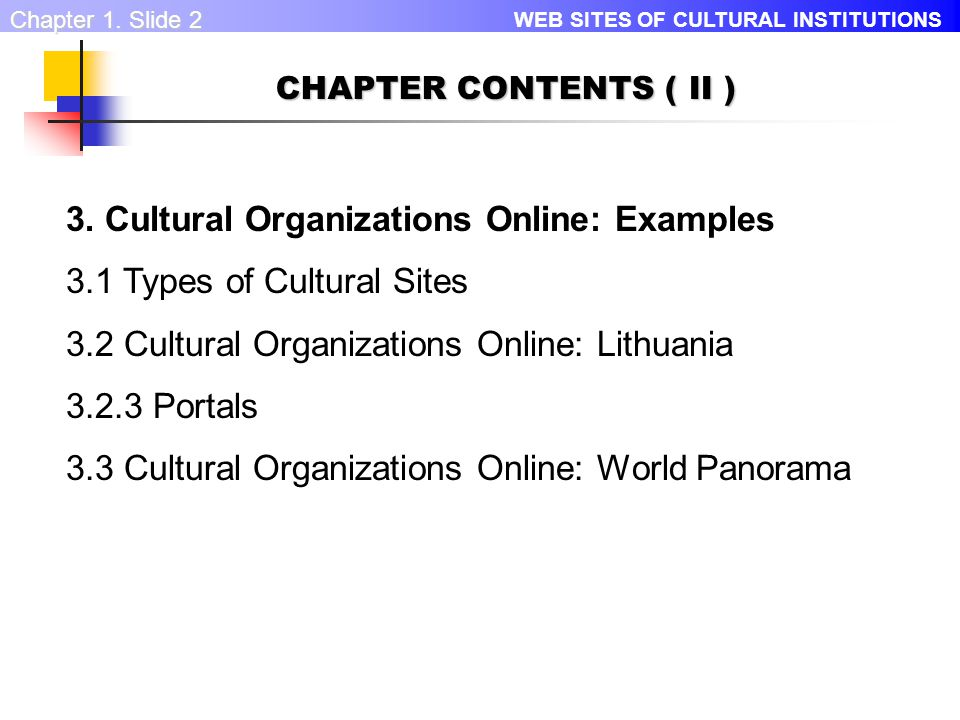 WEB SITES OF CULTURAL INSTITUTIONS Chapter 1. Slide 1 CHAPTER CONTENTS ( I ) 1.