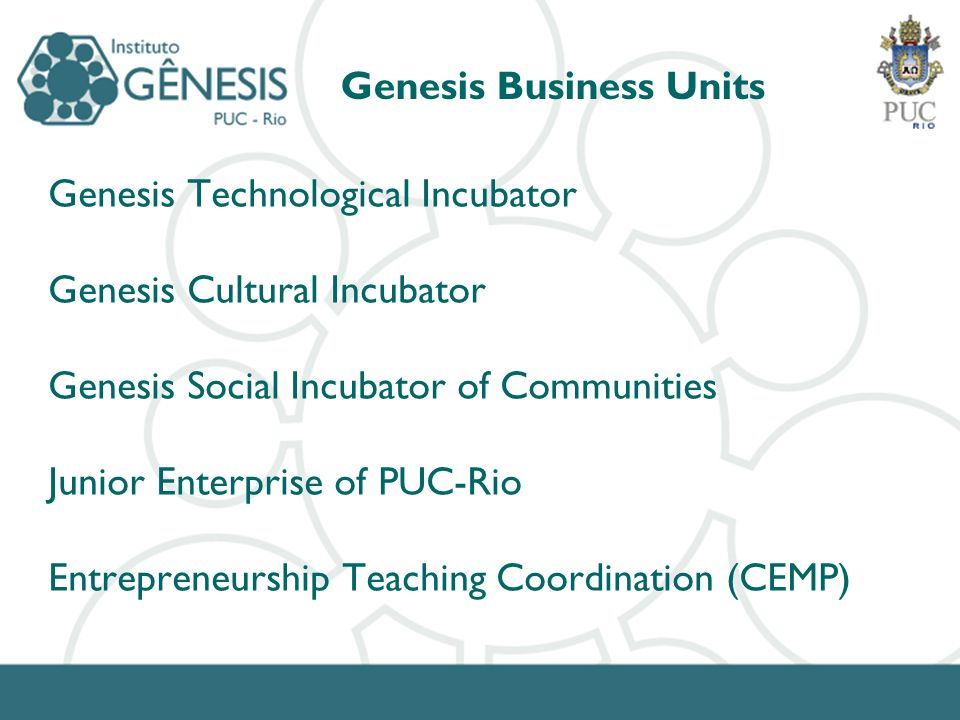Genesis Business Units Genesis Technological Incubator Genesis Cultural Incubator Genesis Social Incubator of Communities Junior Enterprise of PUC-Rio Entrepreneurship Teaching Coordination (CEMP)