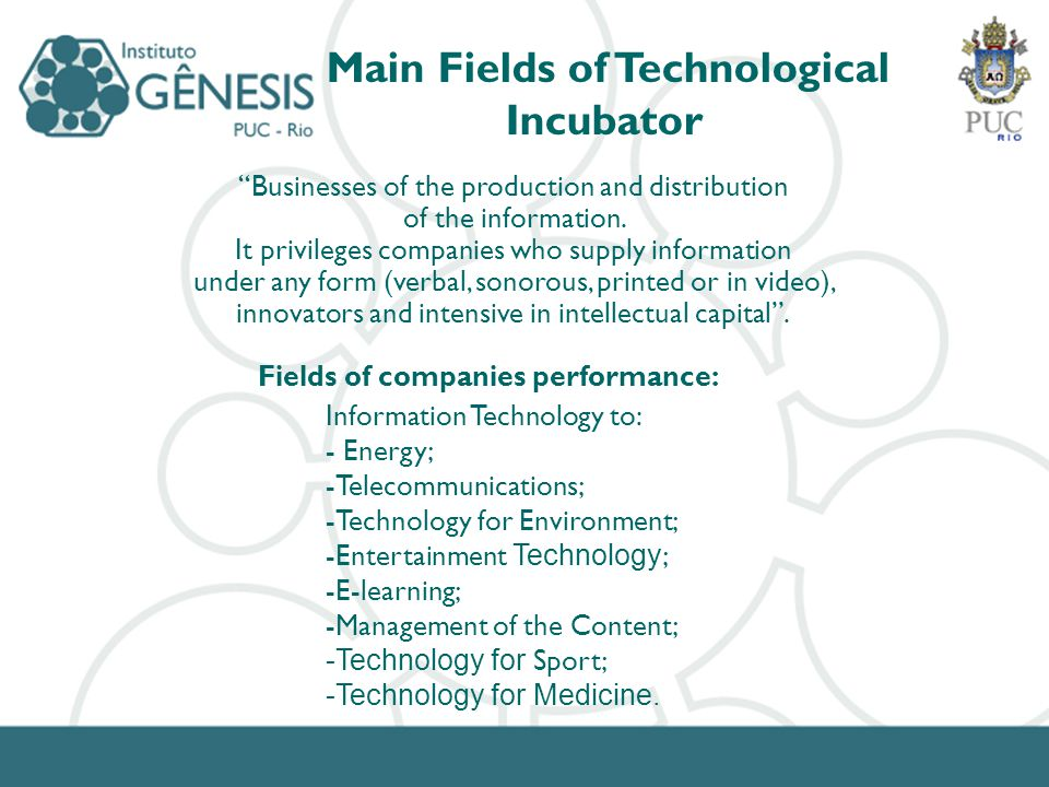 Main Fields of Technological Incubator Businesses of the production and distribution of the information.
