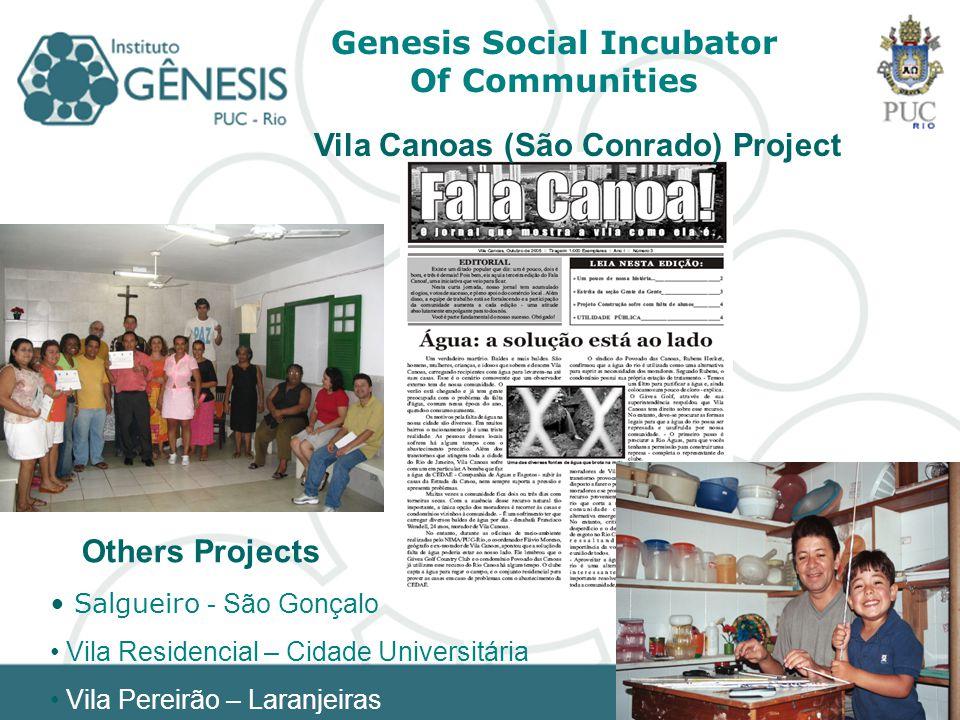 Genesis Social Incubator Of Communities Salgueiro - São Gonçalo Vila Residencial – Cidade Universitária Vila Pereirão – Laranjeiras Others Projects Vila Canoas (São Conrado) Project